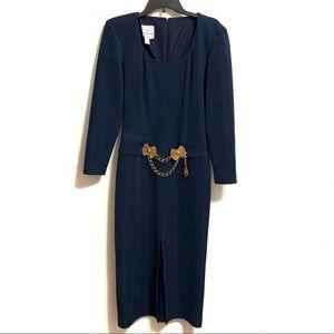 Joseph Ribkoff Midi Dress With Gold Tone Accents